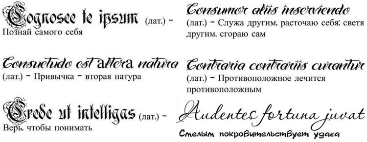 Тату надписи в картинках с переводом
